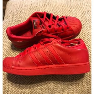Child Adidas Ortholite Float shoe Red leather Sz 2